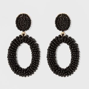 SUGARFIX BaubleBar Beaded Hoop Earrings, Black